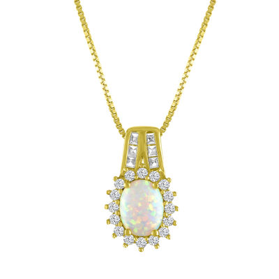 Womens Lab Created Multi Color Opal 14K Gold Over Silver Pendant Necklace