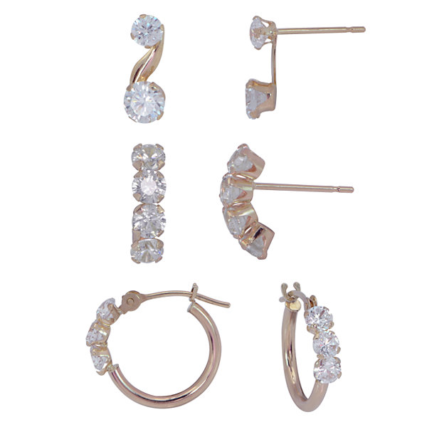 Womens 3 Pair Cubic Zirconia 14K Gold Jewelry Set