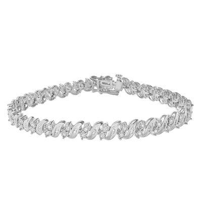 Womens 7 1/2 Inch 1 CT. T.W. White Diamond Sterling Silver Link Bracelet