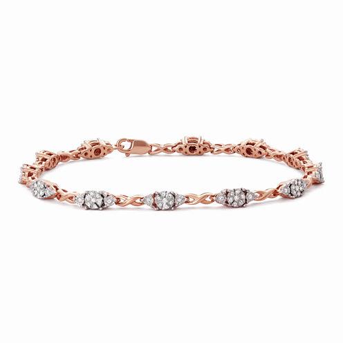 Womens 7 Inch 1/2 CT. T.W. White Diamond 14K Gold Over Silver Link Bracelet