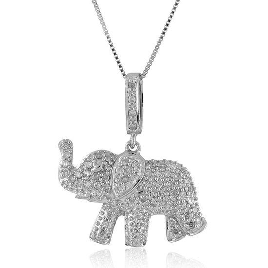 Womens 1/3 CT. T.W. Genuine White Diamond Sterling Silver Pendant Necklace