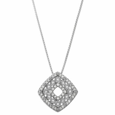 Womens 1/5 CT. T.W. Genuine White Diamond Sterling Silver Square Pendant Necklace