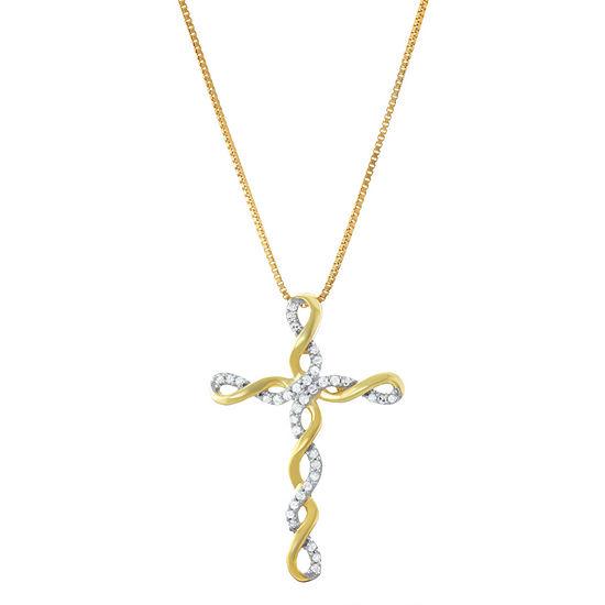Womens 1/5 CT. T.W. Genuine White Diamond 14K Gold Over Silver Cross Pendant Necklace