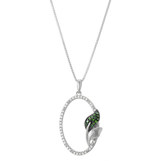 Womens 1/5 CT. T.W. Green Diamond Sterling Silver Pendant Necklace