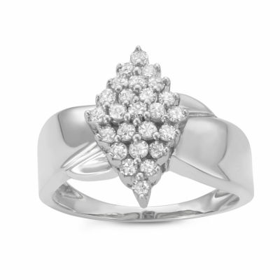 Womens 1/2 CT. T.W. Genuine White Diamond Sterling Silver Cluster Promise Ring
