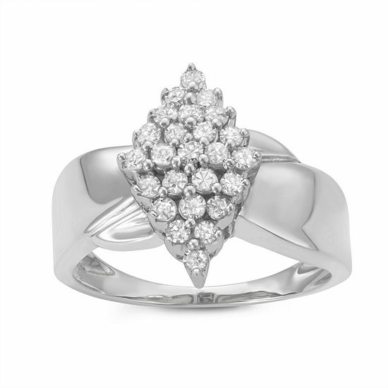 Womens 1 2 Ct Tw Genuine White Diamond Sterling Silver Cluster Promise Ring