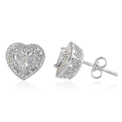 1/10 CT. T.W. Genuine White Diamond Sterling Silver 15mm Stud Earrings