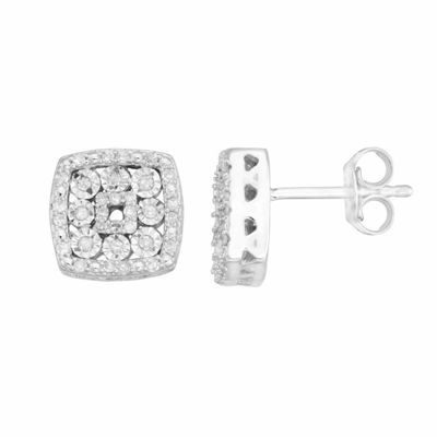 1/4 CT. T.W. Genuine White Diamond Sterling Silver 10mm Stud Earrings