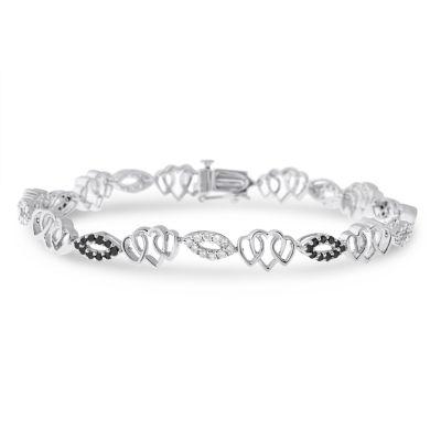 Womens 7 Inch 1 CT. T.W. Black Diamond Sterling Silver Link Bracelet