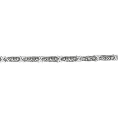Womens 7 Inch 1/4 CT. T.W. White Diamond Sterling Silver Link Bracelet