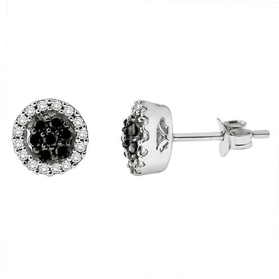1/2 CT. T.W. Black Diamond Sterling Silver 7.9mm Stud Earrings
