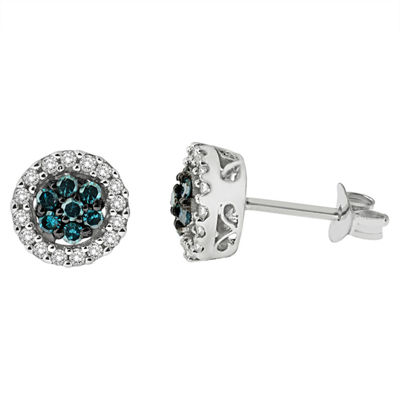 1/2 CT. T.W. Blue Diamond Sterling Silver 7.9mm Stud Earrings