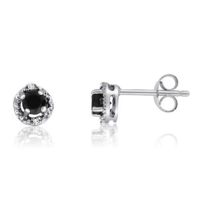1/2 CT. T.W. Black Diamond Sterling Silver 6.2mm Stud Earrings