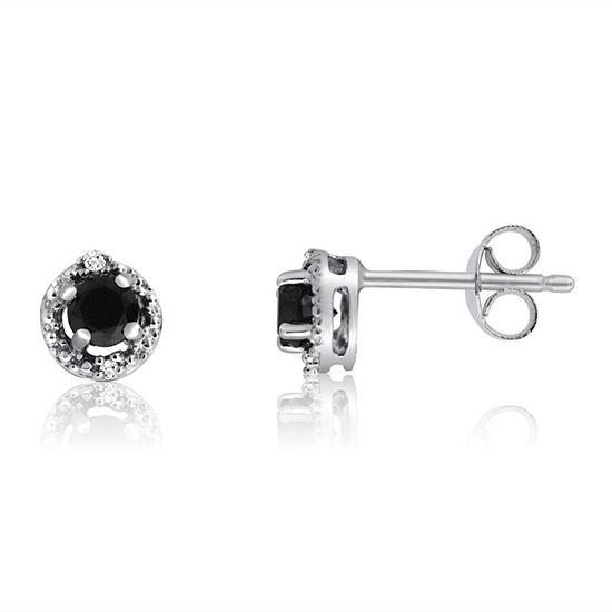1 2 Ct T W Black Diamond Sterling Silver 6 2mm Stud Earrings