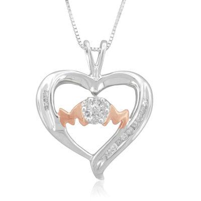 Womens 1/5 CT. T.W. Genuine White Diamond Sterling Silver Heart Pendant Necklace