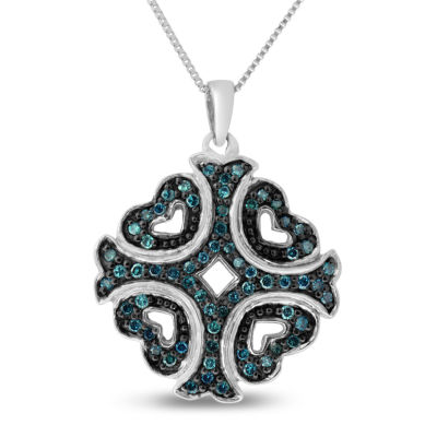 Womens 1/3 CT. T.W. Blue Diamond Sterling Silver Cross Pendant Necklace