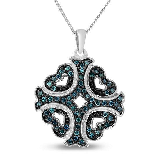 Womens 1/3 CT. T.W. Blue Diamond Sterling Silver Cross Pendant Necklace