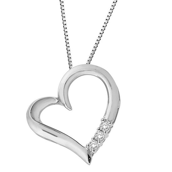 Womens 1/10 CT. T.W. Genuine White Diamond Sterling Silver Heart Pendant Necklace