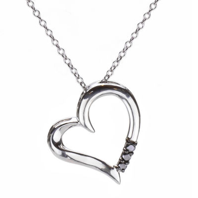Womens 1/10 CT. T.W. Black Diamond Sterling Silver Heart Pendant Necklace