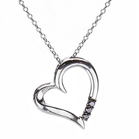 Womens 1/10 CT. T.W. Black Diamond Sterling Silver Heart Pendant Necklace