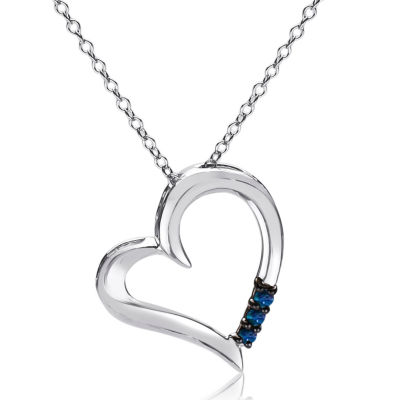 Womens 1/10 CT. T.W. Blue Diamond Sterling Silver Heart Pendant Necklace
