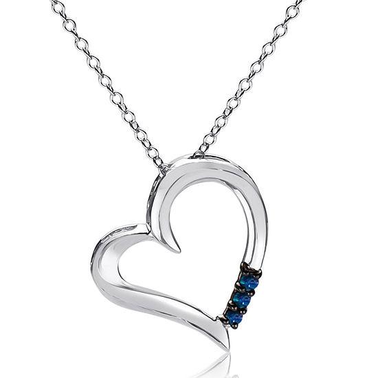 Womens 1/10 CT. T.W. Blue Diamond Sterling Silver Heart Pendant Necklace