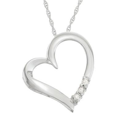 Womens 1/3 CT. T.W. Genuine White Diamond Heart Pendant Necklace