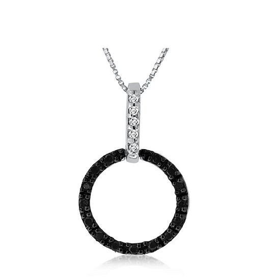 Womens 1/10 CT. T.W. Black Diamond Sterling Silver Pendant Necklace
