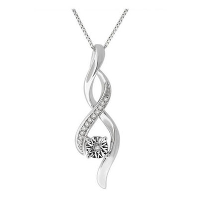 Womens 1/6 CT. T.W. Genuine White Diamond Sterling Silver Pendant Necklace