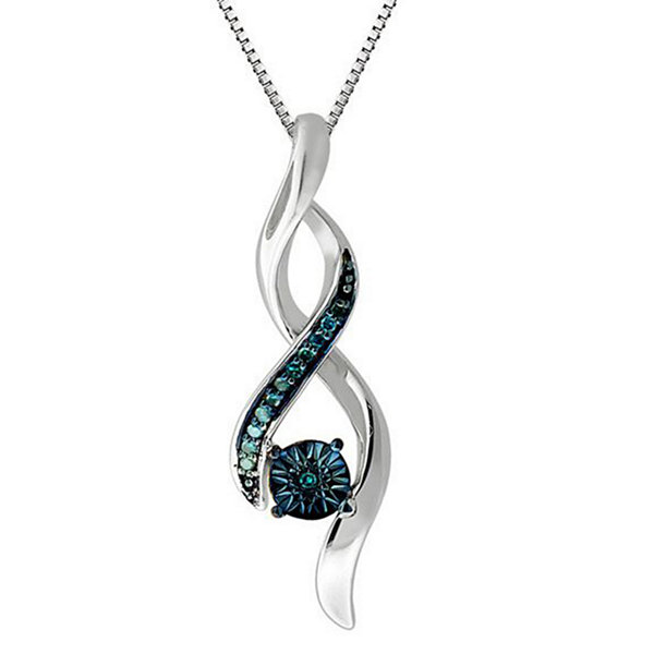Womens 1/6 CT. T.W. Blue Diamond Sterling Silver Pendant Necklace