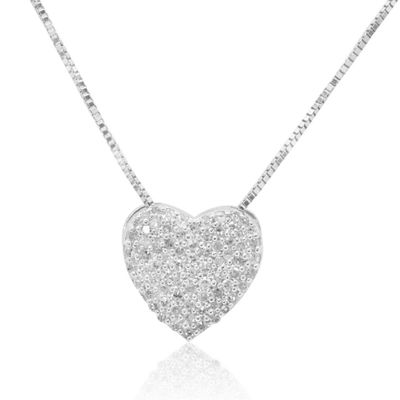 Womens 1/4 CT. T.W. Genuine White Diamond Sterling Silver Heart Pendant Necklace