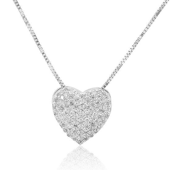 Womens 1/4 CT. T.W. Genuine White Diamond Sterling Silver Heart Pendant Necklace
