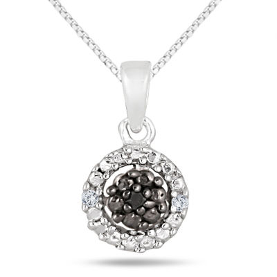 Womens 1/3 CT. T.W. Black Diamond Sterling Silver Pendant Necklace