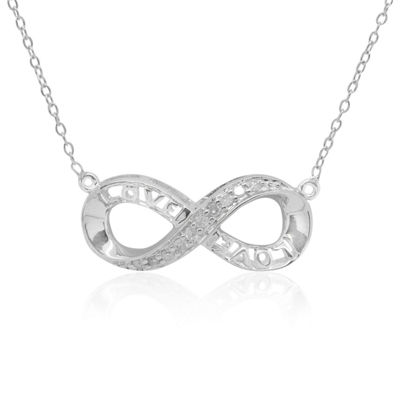 Womens 1/7 CT. T.W. Genuine White Diamond Sterling Silver Infinity Pendant Necklace