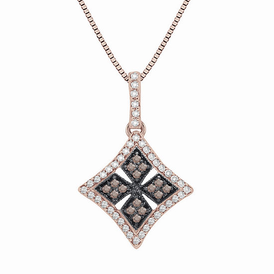 Womens 1/3 CT. T.W. Champagne Diamond 14K Gold Over Silver Pendant Necklace