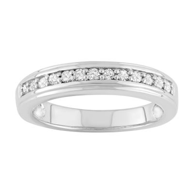 Womens 1/4 CT. T.W. Genuine White Diamond Sterling Silver Stackable Ring
