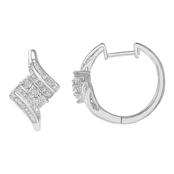 1/2 CT. T.W. White Diamond Sterling Silver Hoop Earrings
