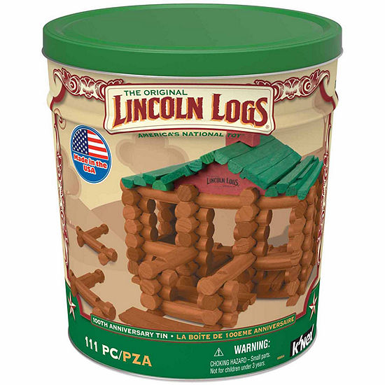 LINCOLN LOGS - 100th Anniversary Tin - 111 All-Wood Pieces