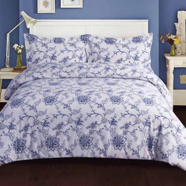 Tribeca Living Floral Flannel 3-pc. Duvet Cover Set