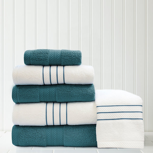 Pacific Coast Textiles Contrast 6-pc. Quick Dry Bath Towel Set ...