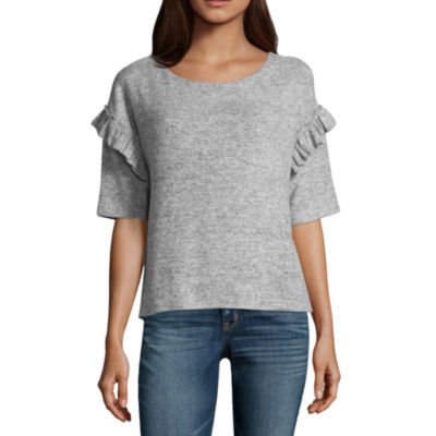 a.n.a Ruffle Sleeve Brushed Knit Top