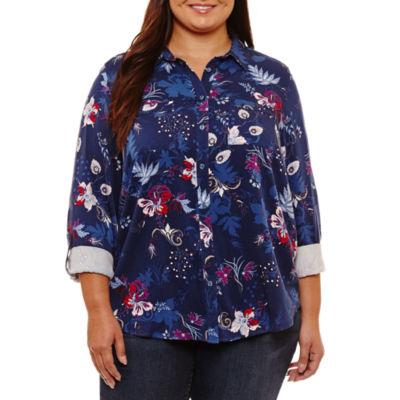 Liz Claiborne Long Sleeve Button-Front Shirt-Plus