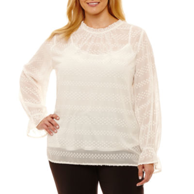 Liz Claiborne Long Sleeve Round Neck Woven Blouse- Plus
