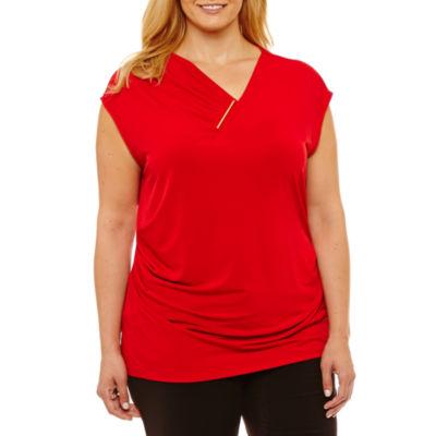 Liz Claiborne Cap Sleeve Drape Knit Top- Plus