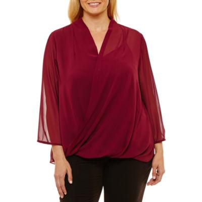Liz Claiborne 3/4 Sleeve Wrap Shirt Plus