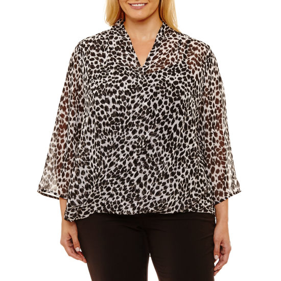 Liz Claiborne 3/4 Sleeve Wrap Shirt Plus