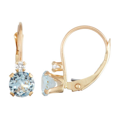 Lab Created Blue Aquamarine 10K Gold Round Drop Earrings