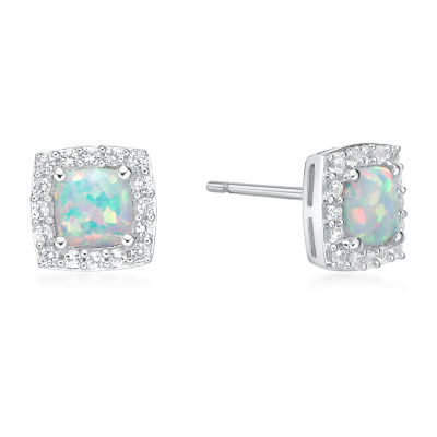 Lab Created White Opal Sterling Silver 8mm Stud Earrings