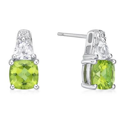 Genuine Green Peridot Sterling Silver 12.8mm Stud Earrings