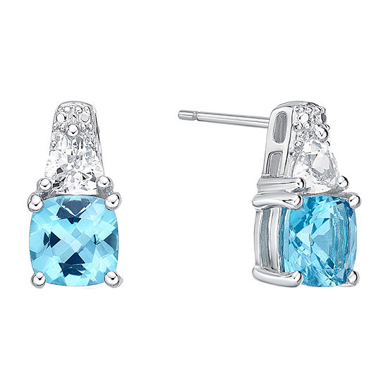 Genuine Blue Topaz Sterling Silver 128mm Stud Earrings